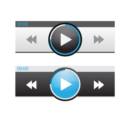 Set of UX audio and video media player templates Vector illustration. Vettoriali