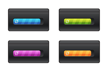 Progress bar and loading different colors on black background vector file. Çizim