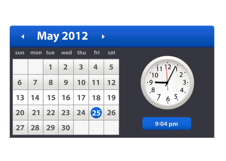 Desk Calendar. Simple Colorful Gradient minimal elegant desk calendar with clock icon