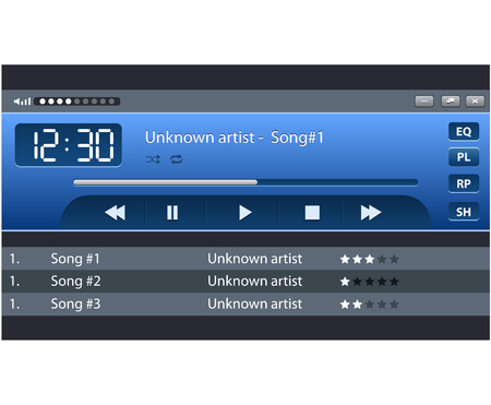 Set of ui ux audio and video media player template Illustration