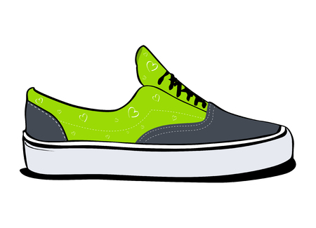 Pair of sneakers, a side view in green color Illustration