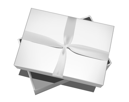Grey gift box with bow isolated on white.