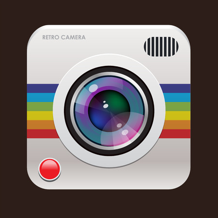 Retro photo camera icon 일러스트