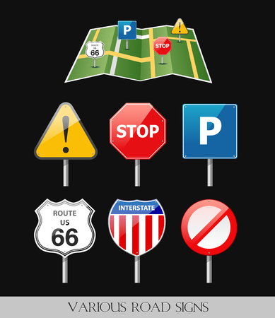 Image of various road signs Illustration