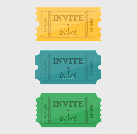 Vector designed cinema tickets close up top view