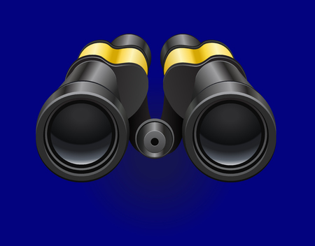 Black binocular on a blue background. White reflections on the lens. Illustration