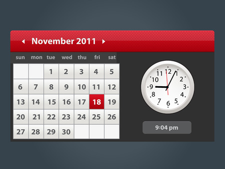 Vector Web and UI Calendar with clock icon. Modern flat style widget