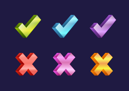 Check box icons of vote mark web sign choice yes symbol and correct design right agreement voting form button question choose success graphic vector illustration. Illustration