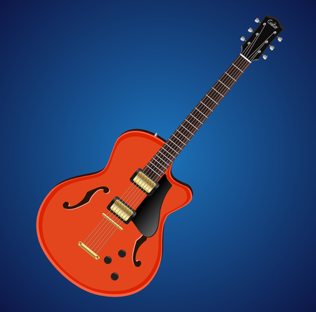 Vector electric hollow body guitar icon. Music instrument icon