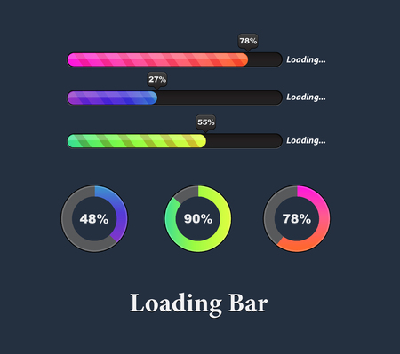 Glowing Colorful Loaders and progress bar set