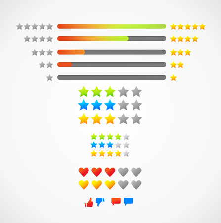 5 star rating and loke icon vector illustration eps10. Isolated badge for website or app