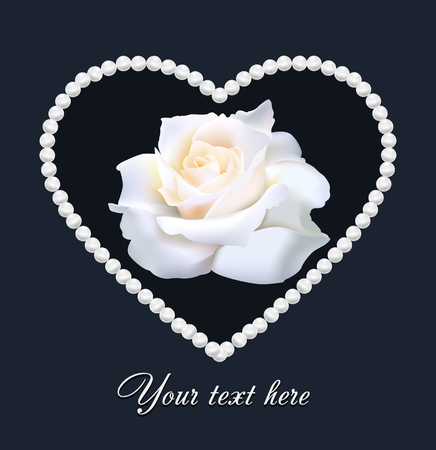 Wedding card with white mesh rose with 3D effects in perl hear Stock Photo