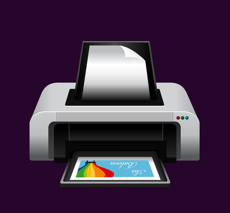 Realistic printer. Illustration on purple background for design