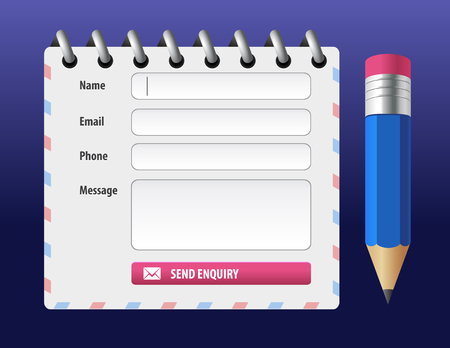 Vector editable contact form with pencil