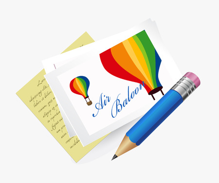 Summer Holiday postcard with air Balloon with pencil. Stock Photo