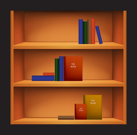 Bookshelf and Books with different Covers Illustration
