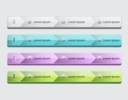 Web site design menu navigation elements with icons set Navigation menu bars Illustration