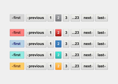 Pagination bars in different colors. Website element for user interface, website development and mobile application design in modern fresh design style Vettoriali