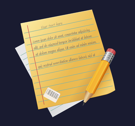 Sheet of paper with pencil, writing, copywriting, blogging. vector illustration