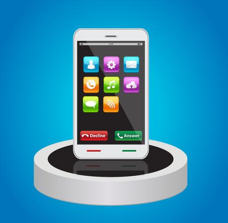 Smart phones with app icons. Иллюстрация