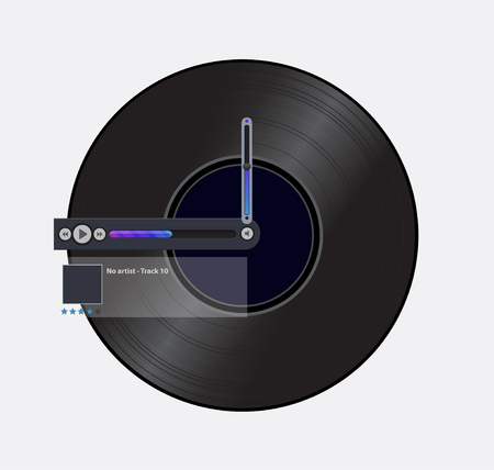 Simple black record icon with media player