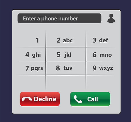 Keypad with numbers and letters for phone. User interface keypad for smartphone. Keyboard template in touchscreen device. Ilustração