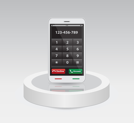Smart phone with keypad with numbers and letters for your design. Isolated on background