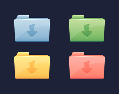 Download Data Vector Folder Icon. Folder with download arrow Illustration