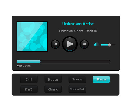 Set of ui ux audio and video media player template in vector with design elements and icons. EPS 10