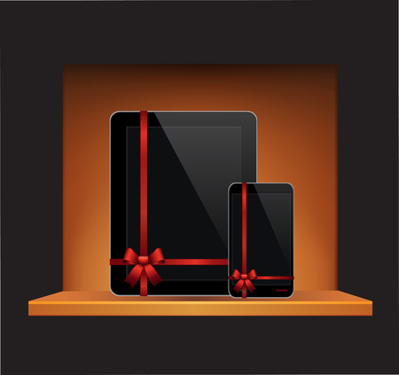 Vector Tablet Computer Mobile Phone with ribbon and bow in a gift on a shelf. EPS 10 Illustration