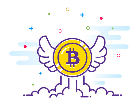 Bitcoin with wings flat illustration. Bitcoin icon flying in the sky. Crypto currency bit coin. Cryptocurrency emblem. Web and Internet money Vector illustration.