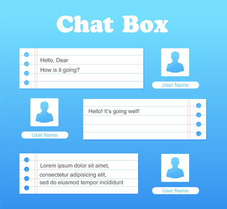 Vector chat interface in blue color. Sms messages. Speech bubbles. Short message service bubbles. Flat interface. UI UX Interface. Vector Stock Illustratie