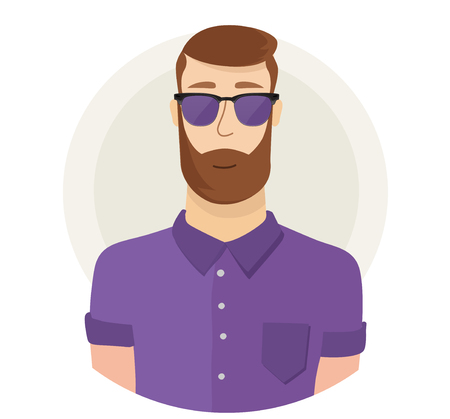 Man character hipster face avatar in glasses. Modern flat style. Male portrait. Vector cartoon illustration.