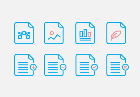 File Type Icon set. Simple Set of File Formats Vector Line Icons. Line style.