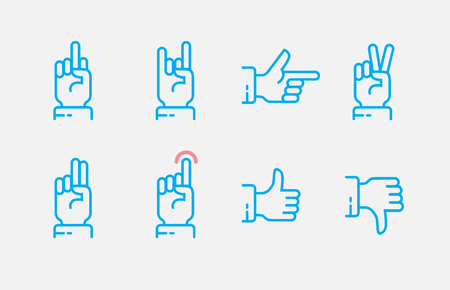Hand gestures thin line icon set. Vector touch screen gestures icons in thin line style