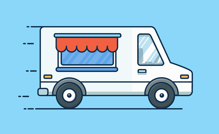 Food delivery. Picnic car. Truck with food. Food van. Vector flat illustration