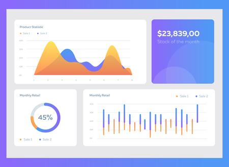 Infografik Dashboard-Vorlage mit flachen Design-Grafiken und Diagrammen. Informationsgrafikelemente