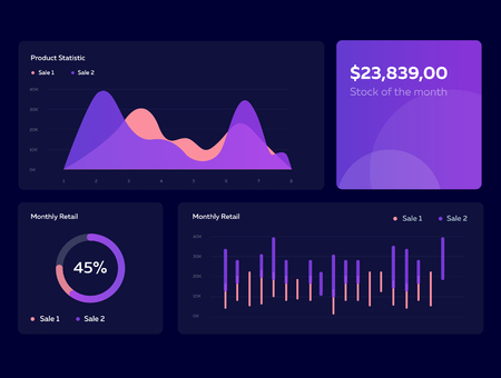 Infographic dashboard template with flat design graphs and charts in dark colors. Information Graphics elements