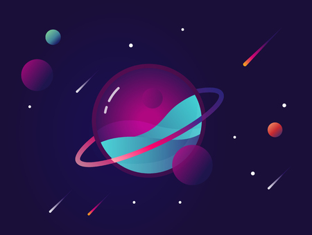 Vibrant colorful planet with stars and speeding comets. Outer space conceptual icon in modern flat material design style