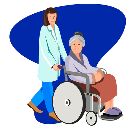Female nurse helping caring for elderly woman. Vector flat illustration isolated on white. Stock Illustratie