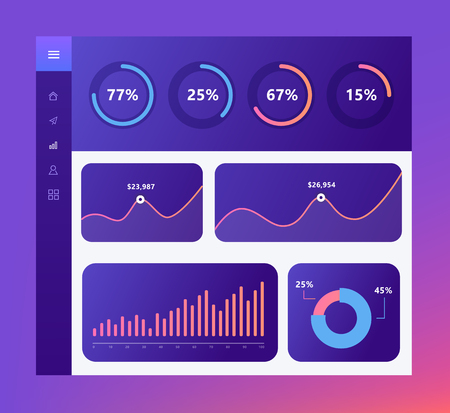 Infographic dashboard template with flat design graphs and charts, loading objects, chart pie. Information Graphics elements. Stock Illustratie