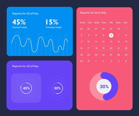 Minimalistic infographic template with flat design daily statistics graphs, dashboard, pie charts, multiple circle template with options for diagram, workflow, web design, UI elements. Vector EPS 10 Stock Illustratie