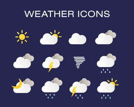 Complete set of modern realistic weather icons. Modern weather icons set. Flat vector symbols on dark background.