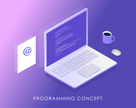 Software development and programming, program code on laptop screen, income letter and a cup of coffee. Big data processing, Isometric vector illustration.