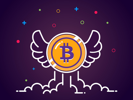 Bitcoin with wings flat illustration. Bitcoin icon flying in the sky. Crypto currency bit coin. Cryptocurrency emblem. Web Vector illustration. EPS 10 Illustration