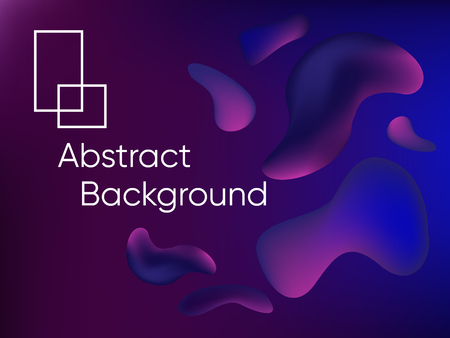 Abstract fluid color background poster or card. Vector template. Purple Background with Bubbles Shapes. Dynamic Effect. 3D Vector Illustration