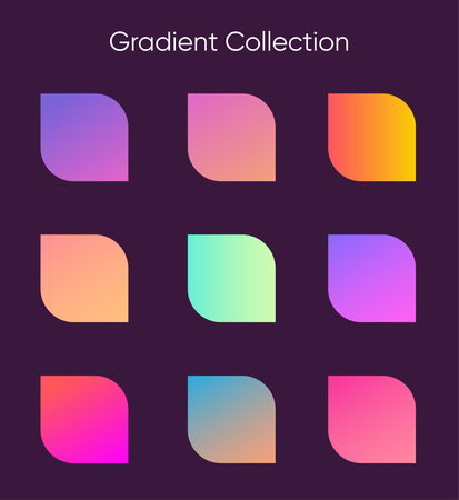 Gradient sample set. Colorful gradients for poster, banner, flyer and presentation. Trendy soft color. Template for screens and mobile app