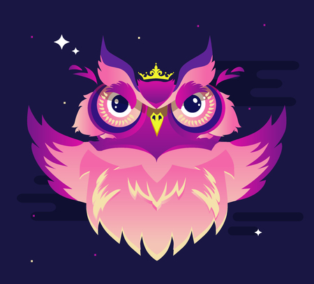 Decorative Vector Owl in vibrant color on a purple background. Bird illustration Stock Illustratie