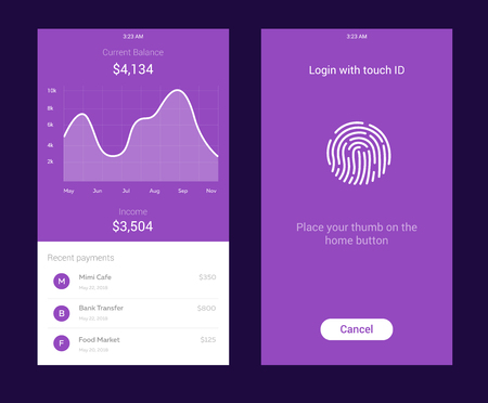 ID Application with icon of fingerprint and graph interface. Fingerprint vector icon. Log on fingerprint, protection, personal data, login to the account. Mjney balance screen