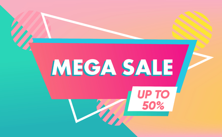 Sale banner template in vibrant colors, sale special offer. End of season special offer banner. Vector illustration. Flat design.